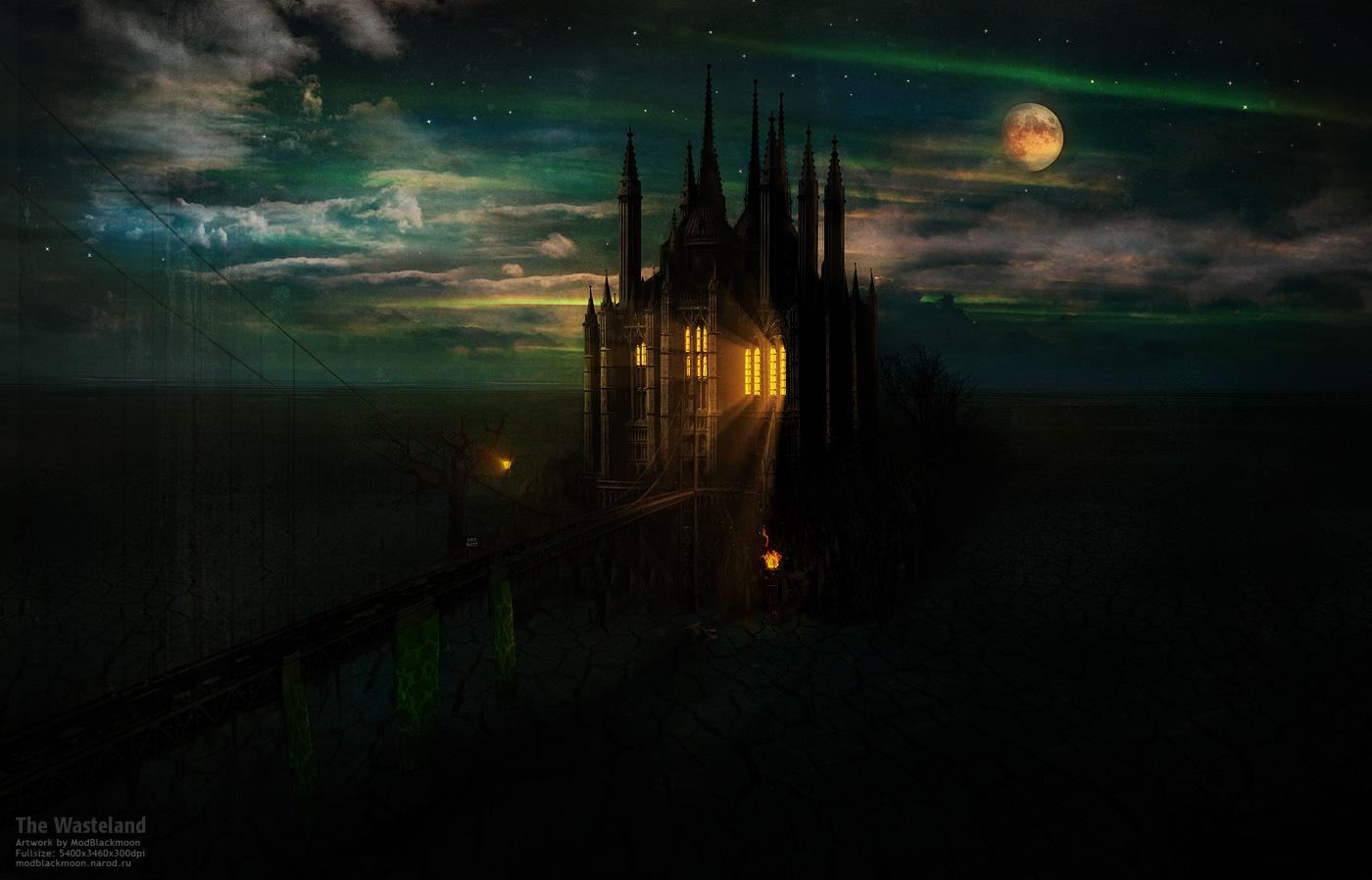 Картинки фэнтези ночь луна замок