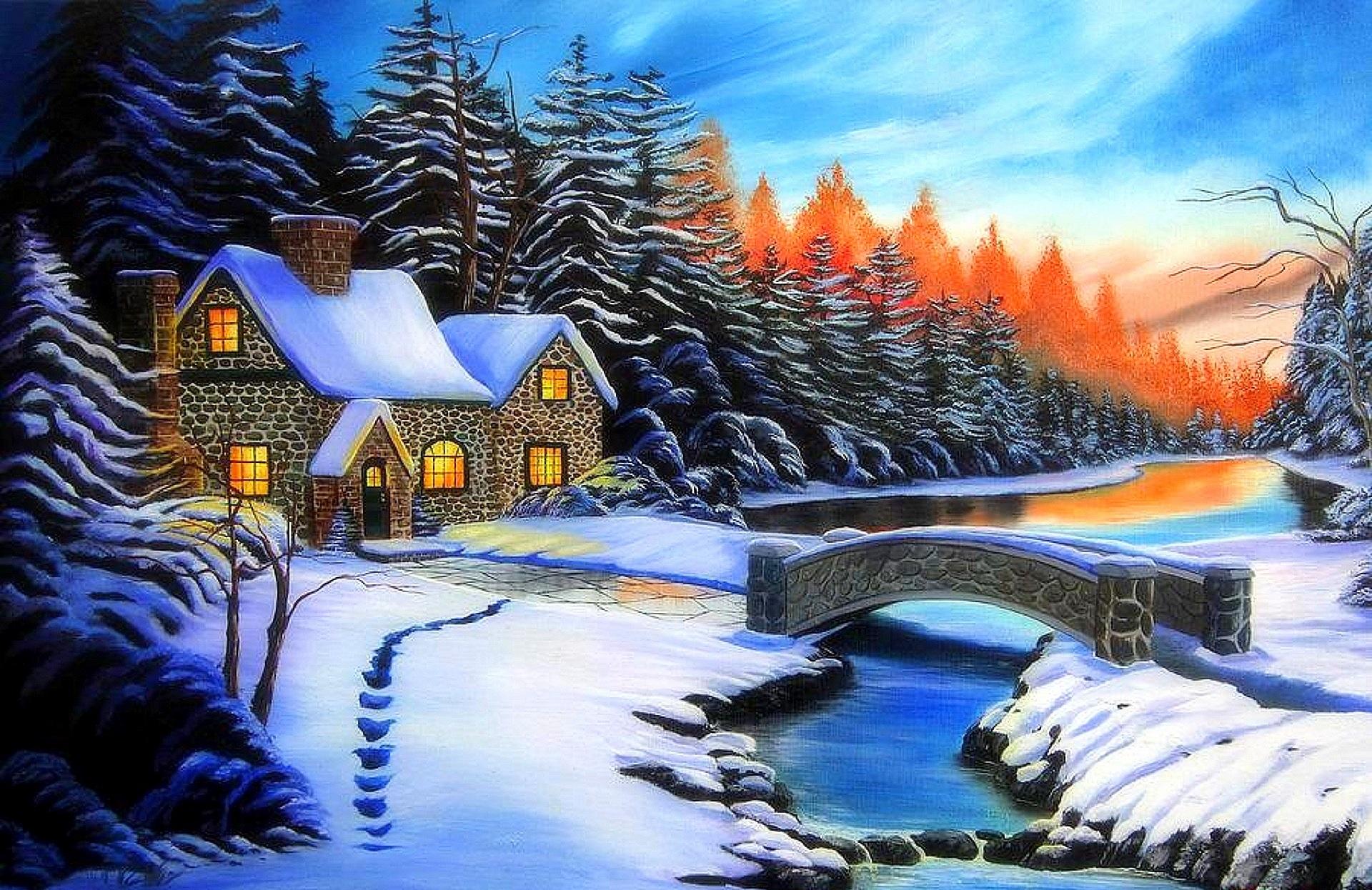Зимний пейзаж с домиками картинки, днем рождения открытки